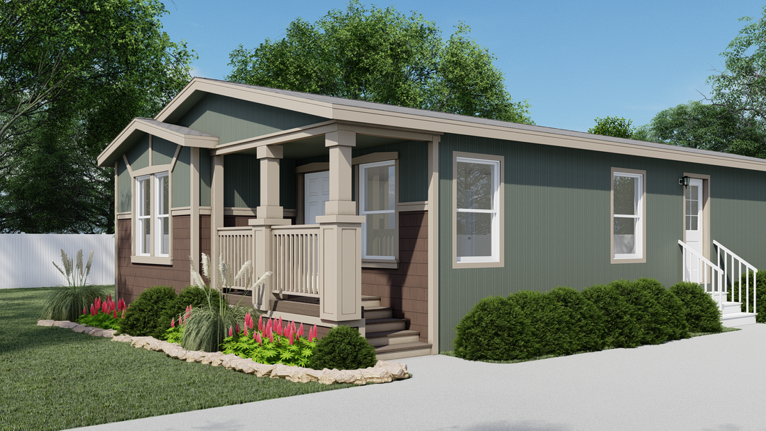 The GPII-2456-3B BRADBURY Exterior. This Manufactured Mobile Home features 3 bedrooms and 2 baths.