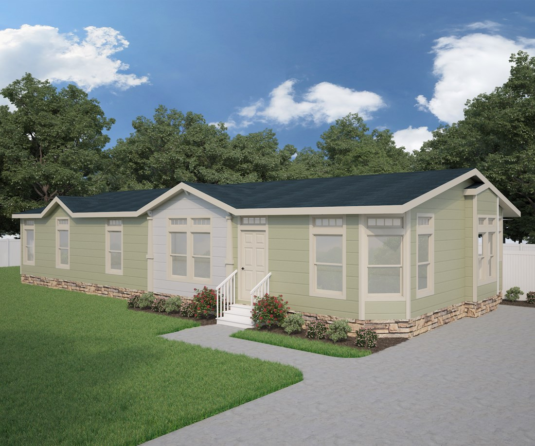 The GLE611G Exterior. This Manufactured Mobile Home features 3 bedrooms and 2 baths.