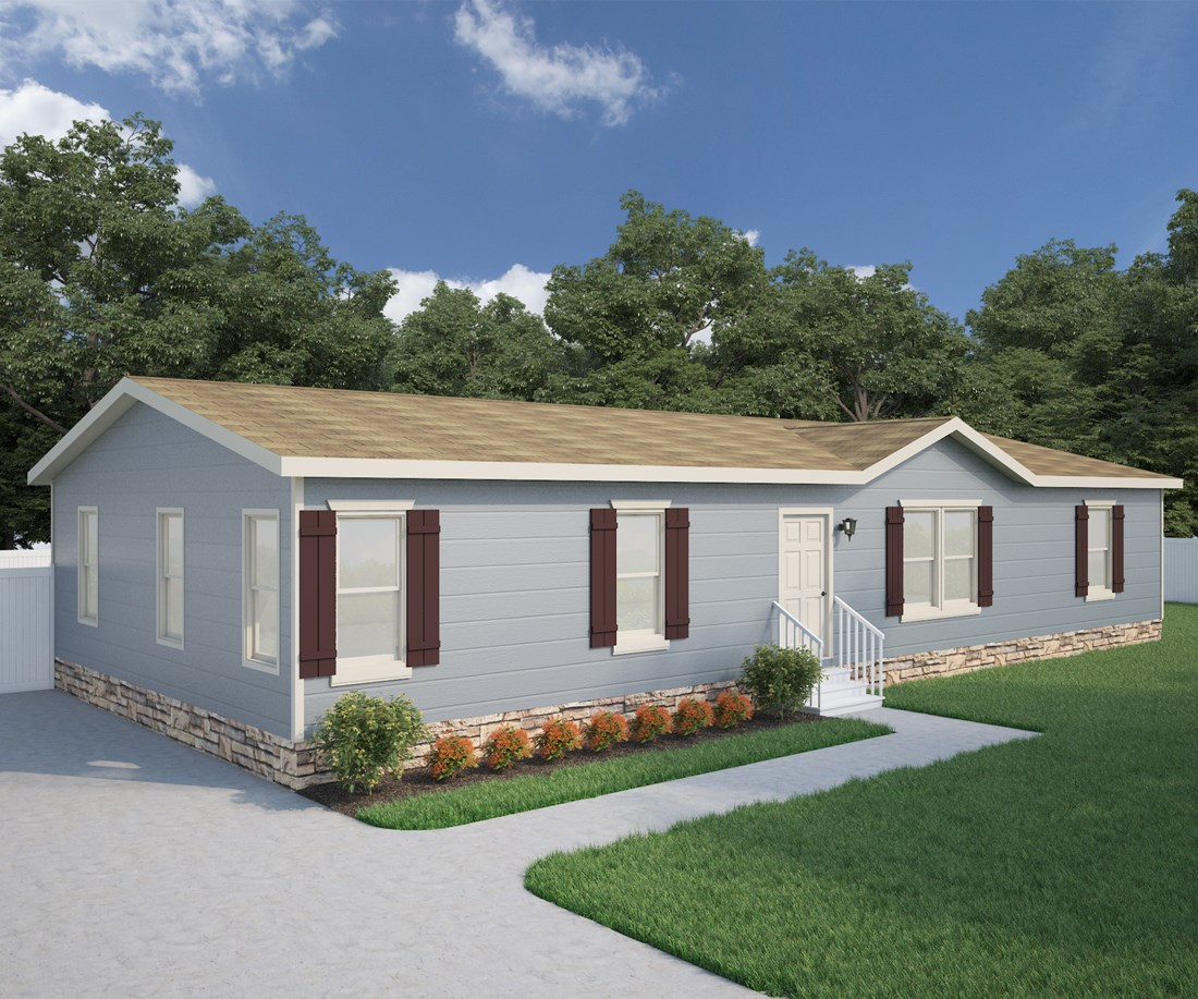 The CK601F Exterior. This Manufactured Mobile Home features 3 bedrooms and 2 baths.
