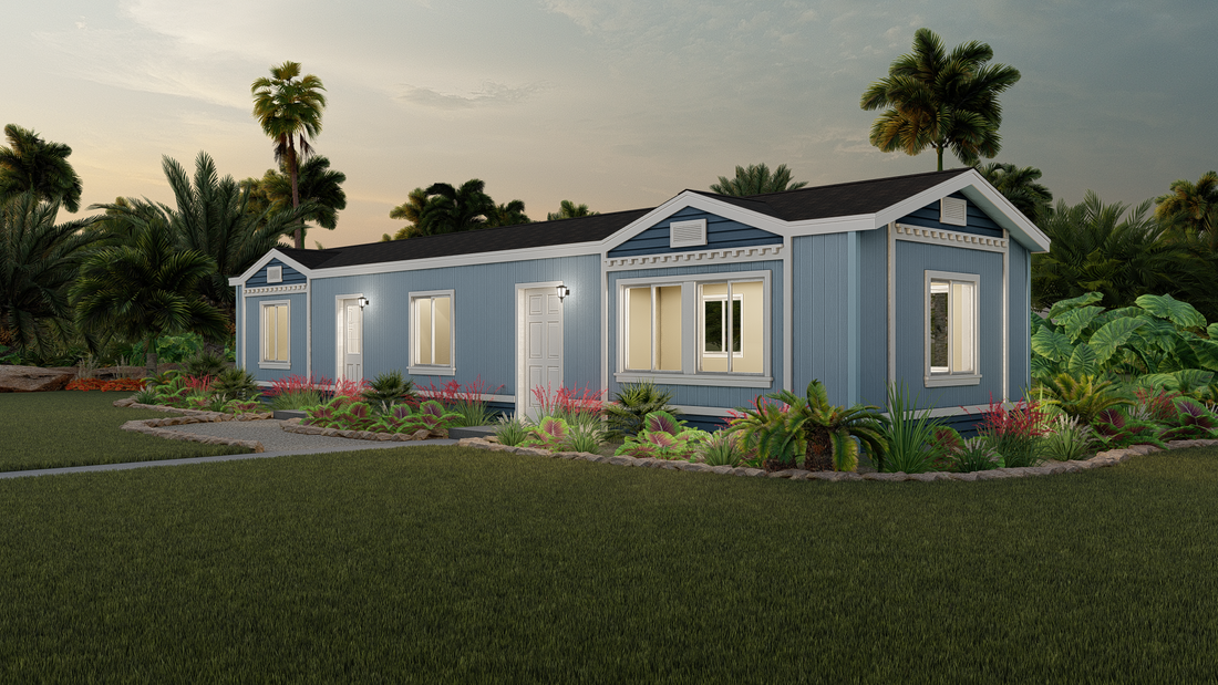 The GPII 1456-2B HUNTINGTON Exterior. This Manufactured Mobile Home features 2 bedrooms and 2 baths.
