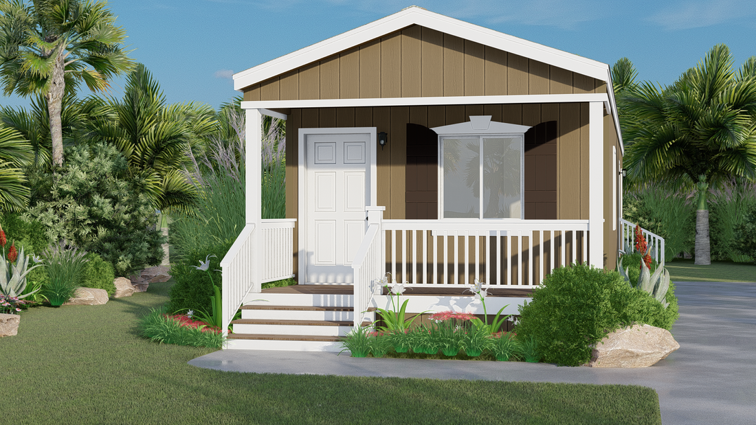 The GPII 1448-2B SOLANA Exterior. This Manufactured Mobile Home features 2 bedrooms and 1 bath.