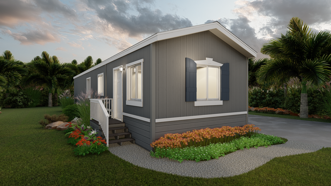 The GPII 1442-2B HERMOSA Exterior. This Manufactured Mobile Home features 2 bedrooms and 2 baths.