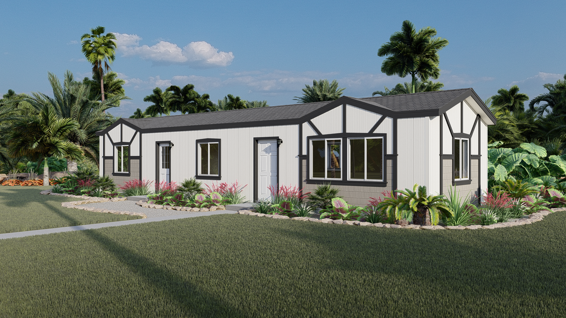 The GPII 1448-2A LA JOLLA Exterior. This Manufactured Mobile Home features 2 bedrooms and 1 bath.