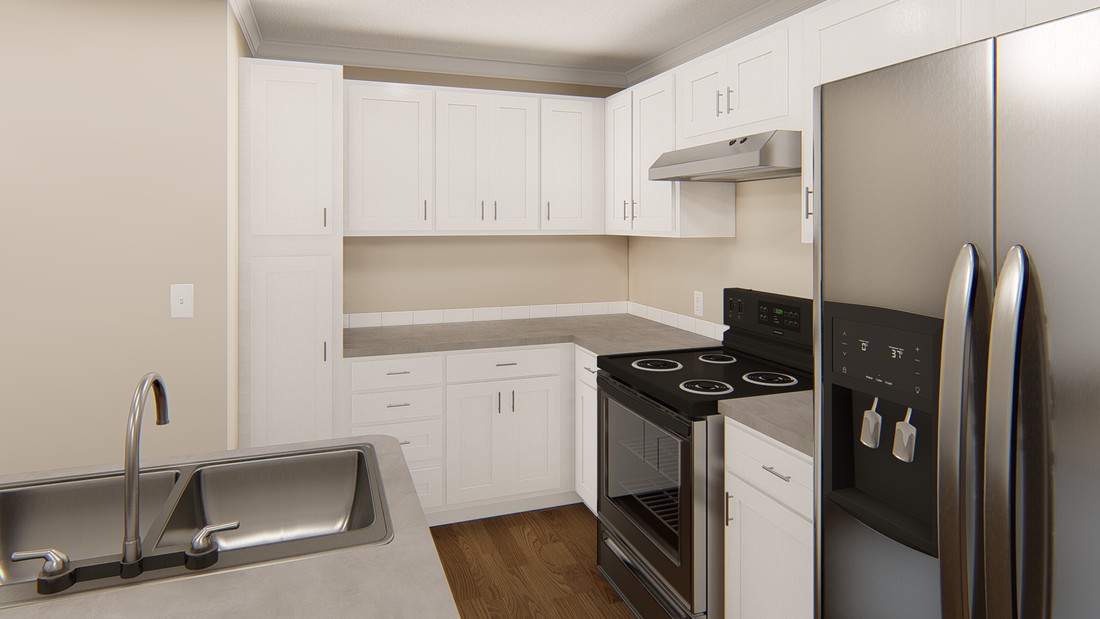 The GPII 1448-2A LA JOLLA Kitchen. This Manufactured Mobile Home features 2 bedrooms and 1 bath.