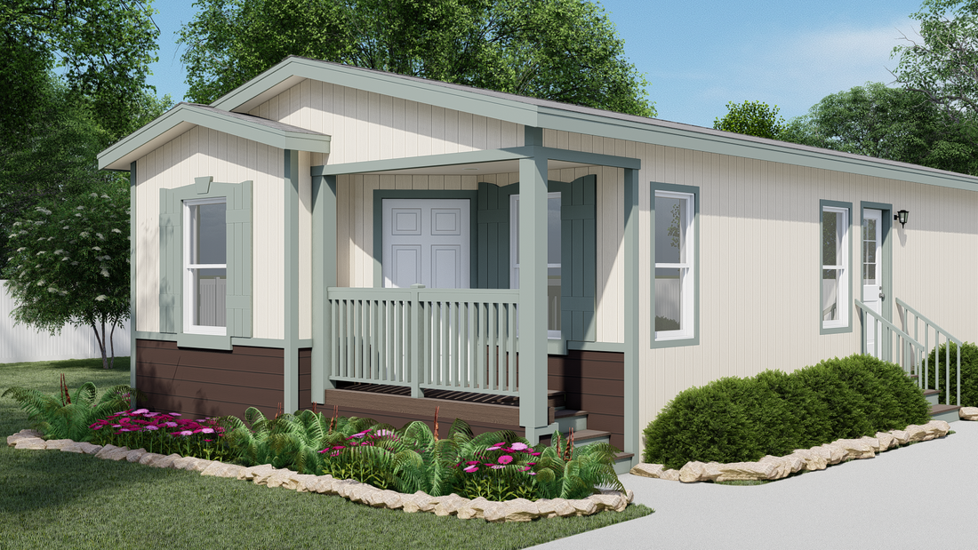 The GPII-2038-2B  SAN CARLOS Exterior. This Manufactured Mobile Home features 2 bedrooms and 1 bath.