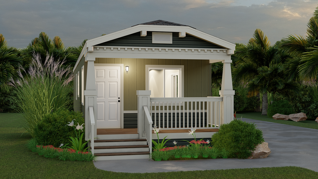 The GPII 1648-2B LA PLAYA Exterior. This Manufactured Mobile Home features 2 bedrooms and 1 bath.