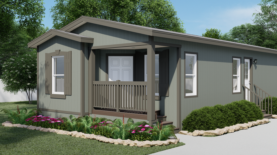 The GPII-2052-3B  PALISADES Exterior. This Manufactured Mobile Home features 3 bedrooms and 2 baths.