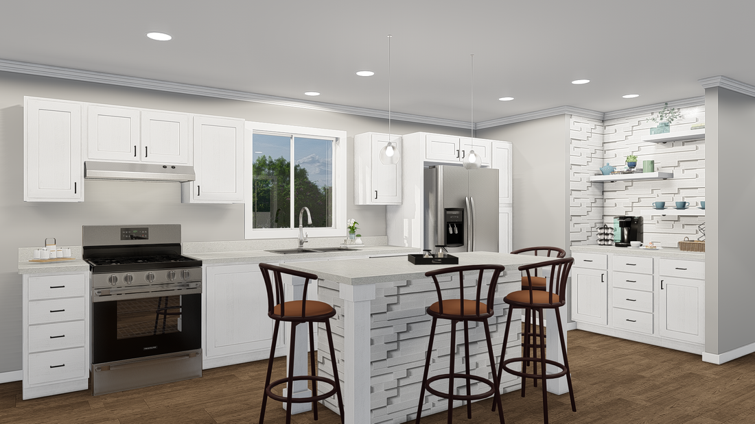 The GPII-2748-2A OAK RANCH Kitchen. This Manufactured Mobile Home features 2 bedrooms and 2 baths.