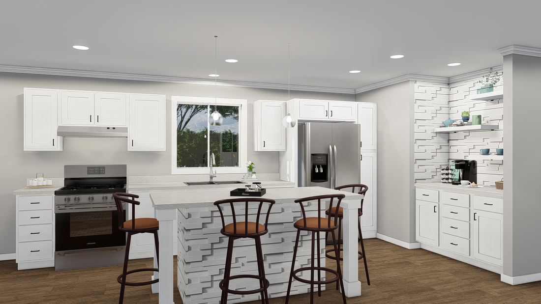 The GPII-2448-3B SAN JUAN Kitchen. This Manufactured Mobile Home features 3 bedrooms and 2 baths.