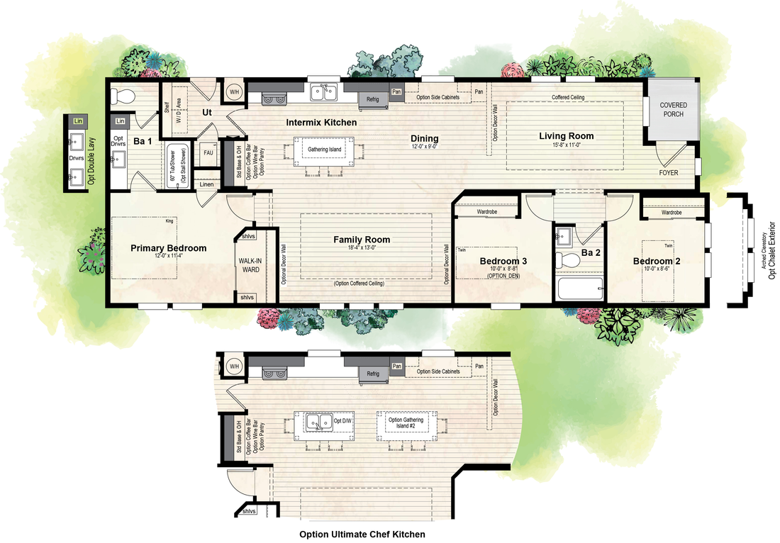 The GPII-2462-3B CENTER PARK Floor Plan