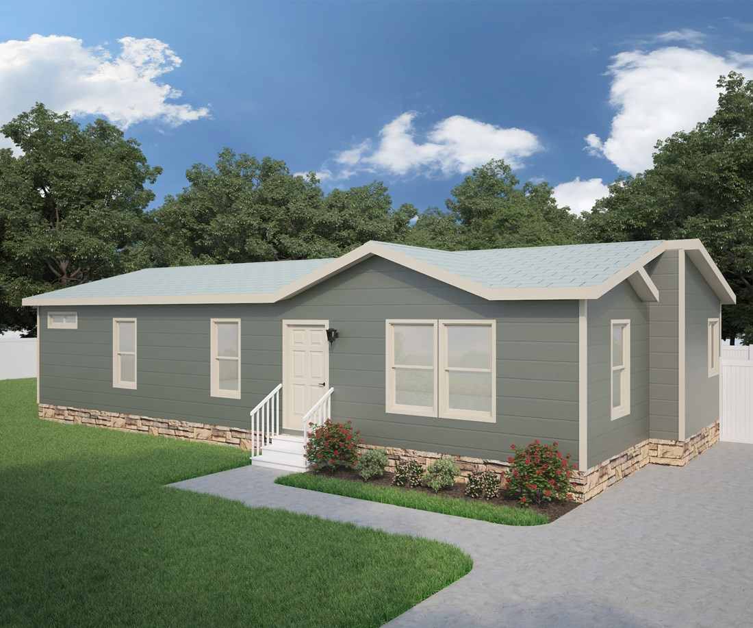 The CK501A Exterior. This Manufactured Mobile Home features 3 bedrooms and 2 baths.