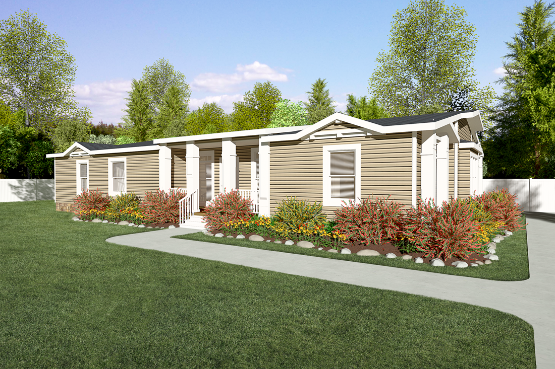 The GLE661K Exterior. This Manufactured Mobile Home features 3 bedrooms and 2 baths.