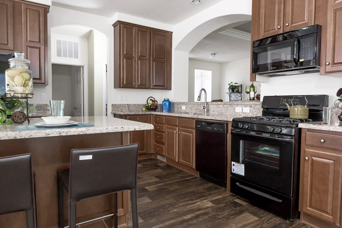 The GLE661K Kitchen. This Manufactured Mobile Home features 3 bedrooms and 2 baths.