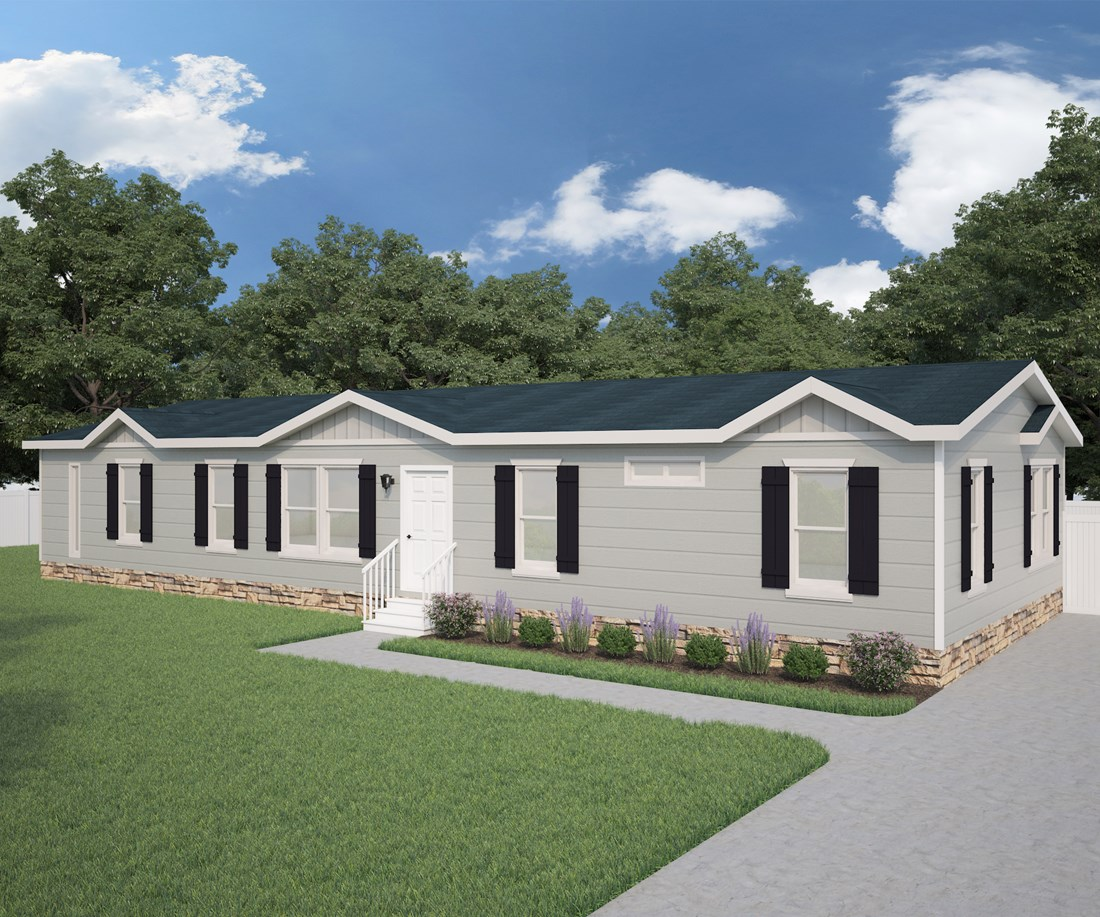 The GE660F Exterior. This Manufactured Mobile Home features 3 bedrooms and 2 baths.